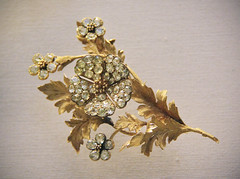 Flower bouquet with a wild rose trembler spray, English or French, about 1880 (Kotomi_) Tags: england london museum jewellery britishmuseum