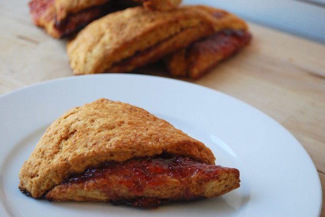 homemade whole wheat scones with strawberry confiture
