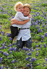 Sister Hug at the Bluebonnet Patch (Jeff Clow) Tags: family girls sisters dallas texas dfw wildflowers bluebonnets littlegirls gapr heritage2011
