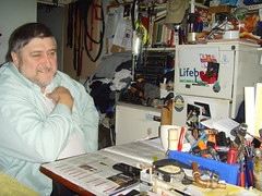 Geoff - surrounded by his handyman tools (bbcworldservice) Tags: world great bbc service olympics expectations 2012 hackneyeastlondon