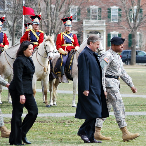 Mayor Driscoll, Congressman Tierney, and Maj. Gen. Carter review the troops