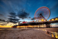 Central Pier blackpool (cooke.marcus) Tags: cloudsstormssunsetssunrises hdr blackpool central pier canon 7d sigma 1020mm marcus cooke sand beach sunset landscape fair ground light slow shutter speed long