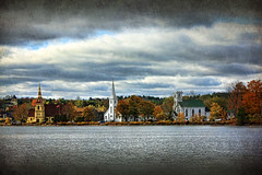 Autumn at Mahone Bay (sminky_pinky100 (In and Out)) Tags: travel autumn trees canada texture tourism water landscape pretty novascotia scenic churches coastal threesisters mahonebay omot cans2s