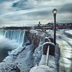 Little Light Shine from the Lamp Post (fesign) Tags: blue winter canada cold ice landscape niagarafalls frost falls lamppost waterfalls impressedbeauty top20wintertime magicunicornverybest outstandingromanianphotographers