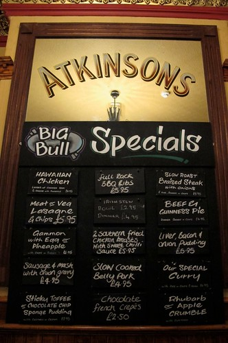 Specials Board in The Big Bull's Head