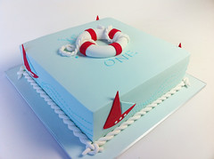 Jesse's Birthday Cake (Sweet Tiers) Tags: boy sailboat boat birthdaycake buoy bluefondant squarerope