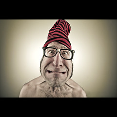 394/730: Prat in a hat (Mr. Flibble) Tags: hat glasses idiot stripey drseuss catinthehat prat 730 flibble idrinkleadpaint