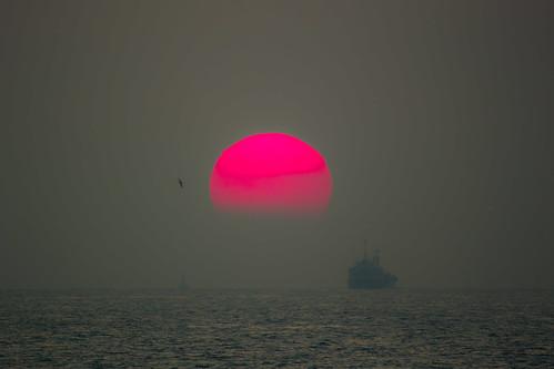 フリー写真素材, 自然・風景, 夕日・夕焼け・日没, 海, 船・船舶, 日本,
