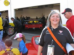 vroomgrrl and FLM45 DP car 2011 daytona garage