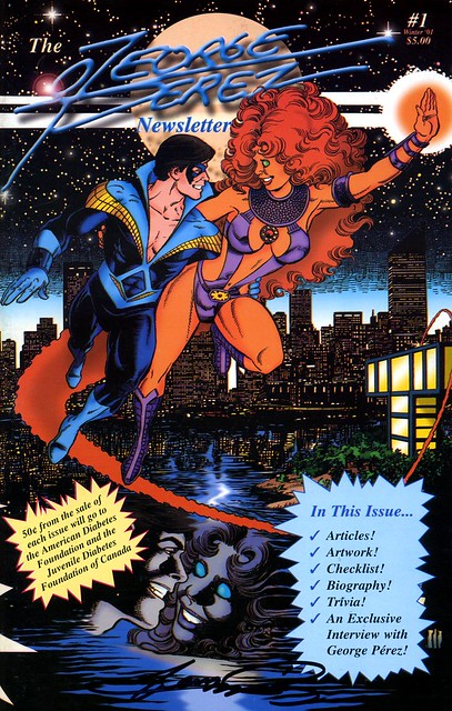 George Perez Nightwing and Starfire from Perez Newsletter cover 2001