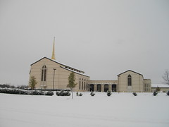 First Methodist Church of Plano, Texas in the snow