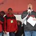 Chancellor Randy Woodson speaks to those assembled for the Krispy Kreme Challenge.