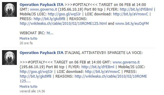"excerpt from ""Anonymous"" Facebook page ""Operation Payback ITA"""