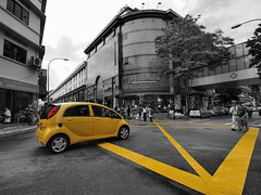 Yellow Junction (HaIogen) Tags: street cars blackwhite singapore wideangle olympus littleindia 2010 selectivecolouring zd explored e520 918mm