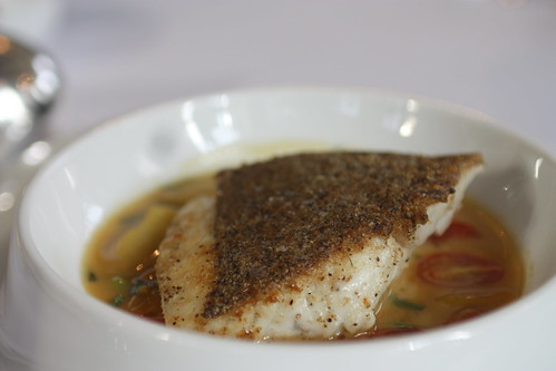 Red Snapper Crusted with nuts and seeds, sweet and sour jus