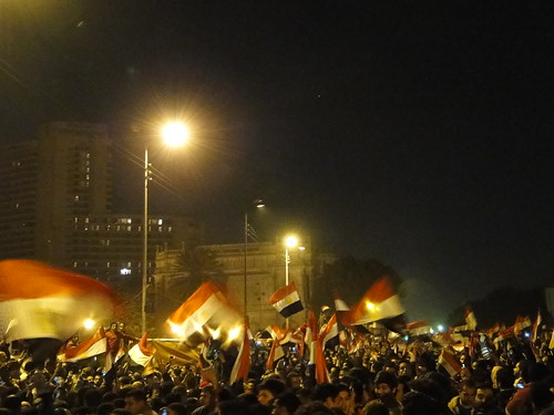 Flag of Egypt all over Tahrir Square