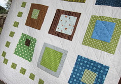 Rear Window (a maiden hair fern) Tags: blue brown white green modern quilt handmade quilting quilts patchwork kona 2010 squareinasquare modernquilt heatherross lightningbugsandothermysteries konawhite
