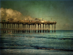 they caught the last train to the coast (a.c.thomas) Tags: uk seascape art beach vintage coast pier devon textured teignmouth southdevon artistictreasurechest magicunicornverybest magicunicornmasterpiece theycaughtthelasttraintothecoastthedaythemusicdied