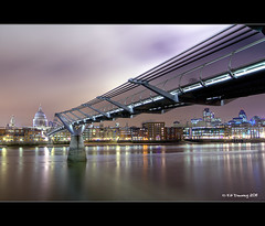 Millenium Bridge & St Pauls (Kit Downey) Tags: city bridge london st thames night canon river lens eos rebel long exposure angle wide millenium pauls tokina kit gherkin ultra gerkin downey 550d t2i 1116mm
