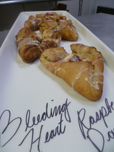 heart-shaped raspberry danishes