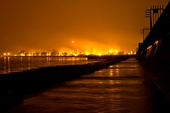 Chemical Glow (nathan_beasley) Tags: longexposure nightphotography orange black color colour water yellow night river concrete coast industrial factory glow pollution works coastline bp humber paull saltend eastyorkshire minolta5d seadefenses