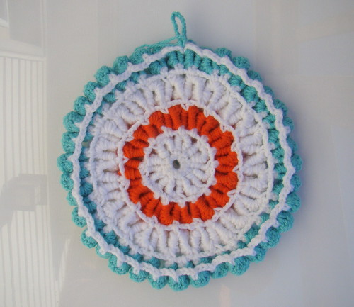 Back of ruffled potholder