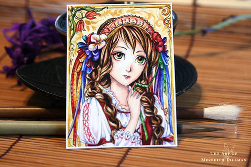 Slavic costume girl ACEO print/card