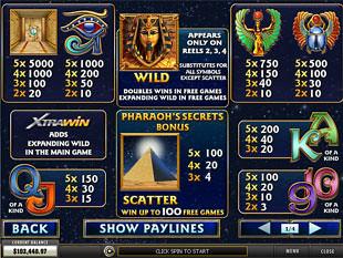 free Pharaoh's Secrets slot mini symbol