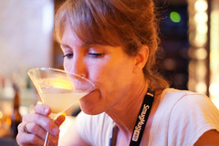 tasting the pear martini at Fiammos