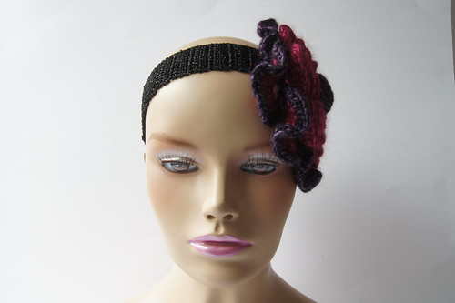 Crochet Headband with Giant rose