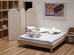 Miniature Striped Mattress and Bed (PetitPlat - Stephanie Kilgast) Tags: modern table miniature bed furniture dollhouse