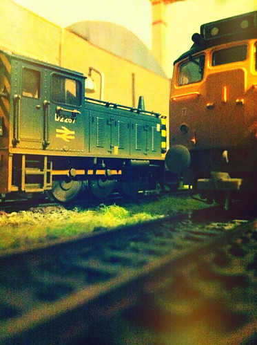 A photograph of a model railway