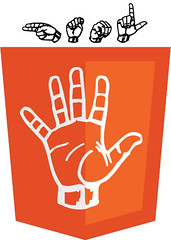 HTML5 logo with American Sign Language