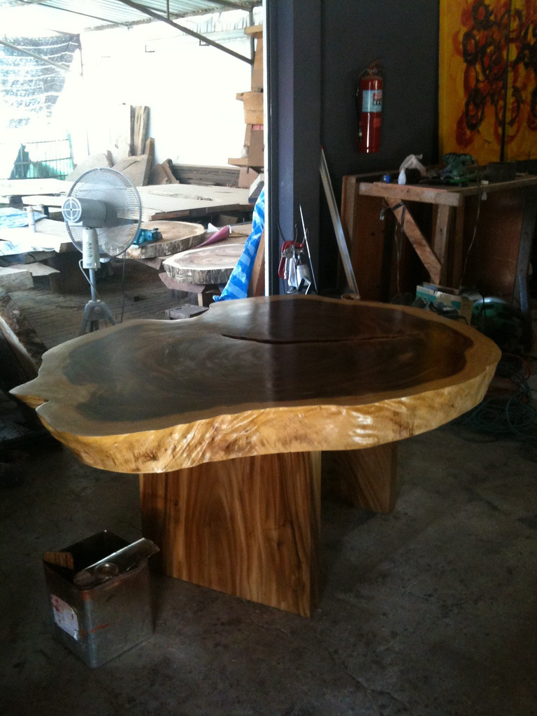 Live edge Single Slab Acacia Dining Table