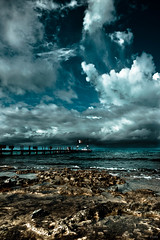 Mexican Pier (Digital Webb) Tags: ocean sea cloud storm beach water rock canon landscape mexico pier boat dock sand rocks flag shore tropical 5d cozumel canoneos canoneos5dmarkii canon5dmkii 5dmarkii canon5dmark2 5dmkii canon5dmk2 5dmk2 5dmark2