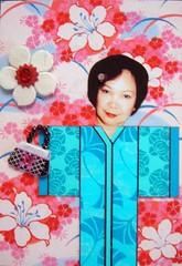 ATC613 - Teng, the kimono lady (tengds) Tags: pink flowers blue atc collage bag sticker kimono papercraft handmadecard indianbindi tengds japanesepatternprint