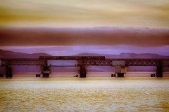 Tay Rail bridge (Dave Trott) Tags: bridge sunset river evening dundee rail tay