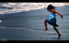 On the Beach (C. Dastodd) Tags: ocean travel summer vacation beach water girl sand costarica waves play manuelantonio