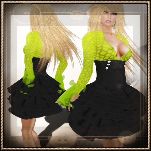 A&A Fashion Waleska Dress Black Green