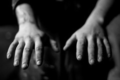 Hands of a worker (Scott McClure -) Tags: blackandwhite white black hands dof cut dirty dirt shallow rough grime shallowdof