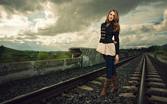 Eden - Senior Portrait (part deux) (isayx3) Tags: railroad portrait senior girl female clouds train nikon 24mm nikkor f28 d3 46 onelight sunpak 120j strobist softlighter