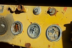 It Was All Yellow (Mark B 365) Tags: old broken yellow rust coldplay decay peelingpaint oldtractor casadefruta brokeninstruments fuelgaugebroken
