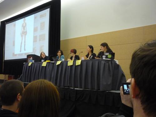Left-to-right: Susan Arendt (Senior Editor, The Escapist), Tracey John (Writer, The Daily), Kathleen De Vere (LoadingReadyRun), Trina Schwimmer (Founder, GamingAngels.com), AJ Glasser (News Editor, GamePro)