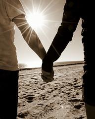 Simple Things (Jmandan) Tags: ocean she woman sun man beach water sunshine him sand holding hands couple shine hand thing things her he simple shining hold holds jmandan