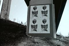 Bay Bridge (Oscar E. Santos) Tags: sanfrancisco california blackandwhite bw film 35mm jones susan wheatpaste jim baybridge konica soma wu sfai southofmarket wheatpasting wuwu bigmini snoozin jimjones estanislao konicabigmini susanwu oscarsantos freedminds underthebaybridge winter2011 ibelieveinjimjones thefreedminds jimjoneswhitepaste freedminded