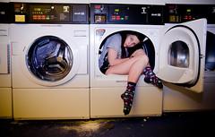 Laundry Girl (Reverine Photography) Tags: portrait woman girl socks self fun model young laundry laundromat washing 52 laundrette