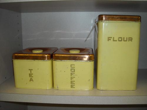 Retro Flour, Coffee, Tea Bins