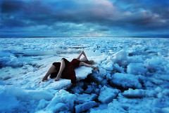 Sea of Broken Dreams (Leah Johnston) Tags: ocean winter sea canada ice girl canon frozen iceland novascotia leah fineart glacier 5d portfolio icicles reddress johnston iceburg mkii icecaps frozenice leahjohnston leahjohnstonphotography seaofbrokendreams