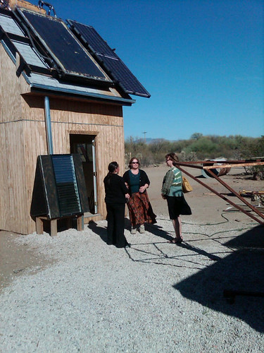 USDA Deputy Under Secretary for Research, Education and Economics, Dr. Ann Bartuska, gets a tour of the solar-powered house that students from the Tohono O'odham Community College built with students and faculty from the University of Massachusetts at Lowell as part of a project funded by a USDA grant.