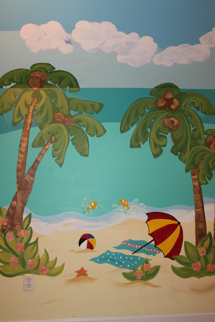 beach playroom mural